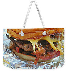 Weekender Tote Bag featuring the photograph Five Guys Cheeseburger by Robert Knight