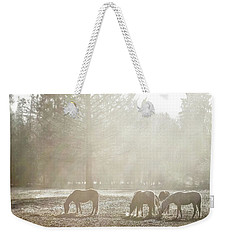 Five Horses In The Mist Weekender Tote Bag