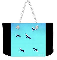 Five Ibis In Flight Weekender Tote Bag by Cassandra Buckley