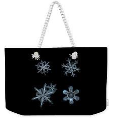 Five Snowflakes On Black 3 Weekender Tote Bag
