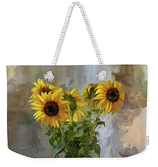 Five Sunflowers Centered Weekender Tote Bag