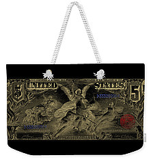Weekender Tote Bag featuring the digital art Five U.s. Dollar Bill - 1896 Educational Series In Gold On Black  by Serge Averbukh