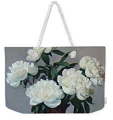 Five White Peonies In Purple Vase Weekender Tote Bag