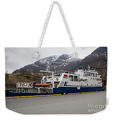 Weekender Tote Bag featuring the photograph Fjord Boat by Suzanne Luft