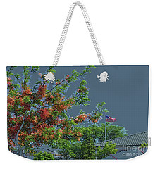 Flag And Shower Tree Weekender Tote Bag by Craig Wood