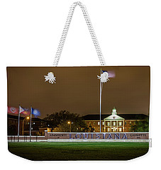 Flag At Night In Wind Weekender Tote Bag