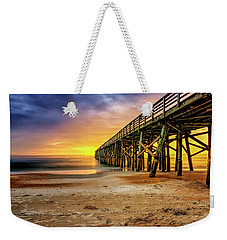 Flagler Beach Pier At Sunrise In Hdr Weekender Tote Bag