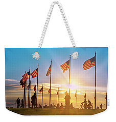 Weekender Tote Bag featuring the photograph Flags At Washington Memorial by Rima Biswas