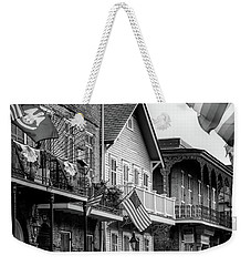 Flags On Bourbon In Black And White Weekender Tote Bag