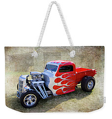 Weekender Tote Bag featuring the photograph Flamed Pickup by Keith Hawley