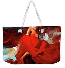 Weekender Tote Bag featuring the painting Flamenco Dance 7750 by Gull G