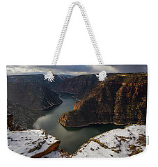 Weekender Tote Bag featuring the photograph Flaming Gorge by Dustin LeFevre
