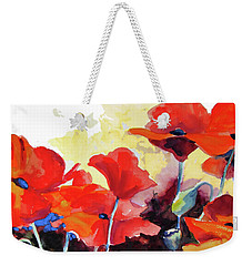 Weekender Tote Bag featuring the painting Flaming Poppies by Kathy Braud