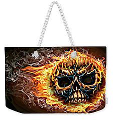 flaming skull Punk Gothic Biker Art Weekender Tote Bag