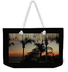 Weekender Tote Bag featuring the digital art Flamingo Beach Bar View by Ellen Barron O'Reilly