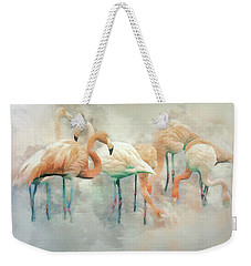 Weekender Tote Bag featuring the digital art Flamingo Fantasy by Brian Tarr