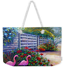 Weekender Tote Bag featuring the painting Flamingo Gardens by Lou Ann Bagnall