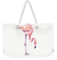 Flamingo Illustration Watercolor - Facing Left Weekender Tote Bag by Olga Shvartsur