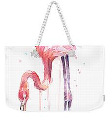 Flamingo Illustration Watercolor - Facing Left Weekender Tote Bag