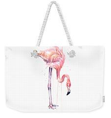 Flamingo Painting Watercolor Weekender Tote Bag by Olga Shvartsur