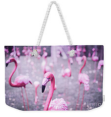 Weekender Tote Bag featuring the photograph Flamingo by Setsiri Silapasuwanchai