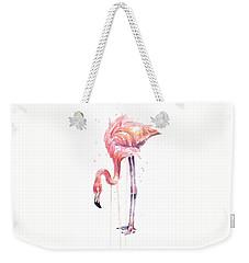 Flamingo Watercolor - Facing Left Weekender Tote Bag