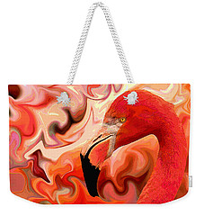 Weekender Tote Bag featuring the digital art Flamingoed An Abstract In Pink by Shelli Fitzpatrick