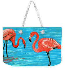Weekender Tote Bag featuring the painting Flamingos by Anastasiya Malakhova