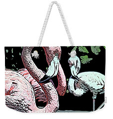 Weekender Tote Bag featuring the photograph Flamingos II by Jim and Emily Bush