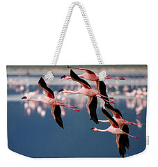 Flamingos In Flight-signed Weekender Tote Bag