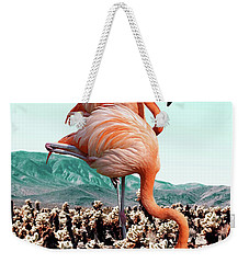 Flamingos In The Desert Weekender Tote Bag by Uma Gokhale