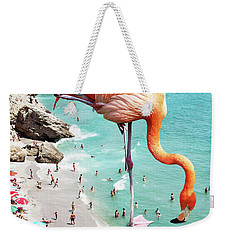 Flamingos On The Beach Weekender Tote Bag by Uma Gokhale