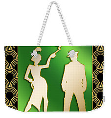 Weekender Tote Bag featuring the digital art Flapper And The Gangster by Chuck Staley