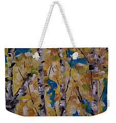 Weekender Tote Bag featuring the painting Flash Point by Judith Rhue