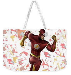 Weekender Tote Bag featuring the mixed media Flash Splash Super Hero Series by Movie Poster Prints