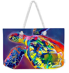 Weekender Tote Bag featuring the digital art Flash The Turtle by Erika Swartzkopf