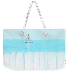 Weekender Tote Bag featuring the painting Flat Earth by Edwin Alverio