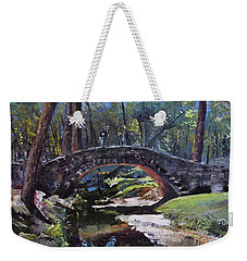 Weekender Tote Bag featuring the painting Flat Rock Park - Two Very Special People-columbus Ga by Jan Dappen