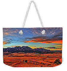 Weekender Tote Bag featuring the photograph Flatiron Sunset Fire Red by Scott Mahon