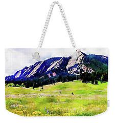 Weekender Tote Bag featuring the digital art Flatirons - Boulder, Colorado by Joseph Hendrix