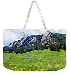 Weekender Tote Bag featuring the digital art Flatirons Of Boulder, Colorado by Joseph Hendrix