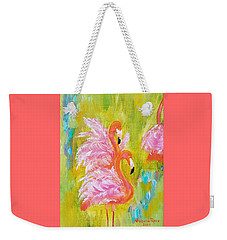 Weekender Tote Bag featuring the painting Flaunting Feathers by Judith Rhue