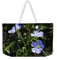Weekender Tote Bag featuring the photograph Flax by Ann E Robson