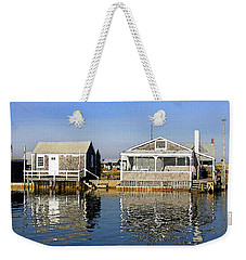 Weekender Tote Bag featuring the photograph Fletchers Camp And The Little House Sandy Neck by Charles Harden