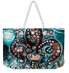 Weekender Tote Bag featuring the painting Fleur De Lis Steampunk Style by Genevieve Esson