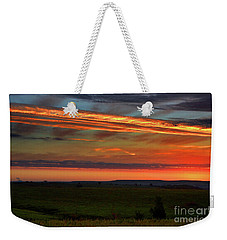 Weekender Tote Bag featuring the photograph Flint Hills Sunrise by Thomas Bomstad