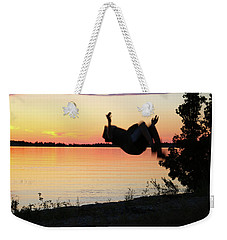 Weekender Tote Bag featuring the photograph Flips At Sunset by Kelly Hazel