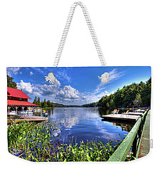 Weekender Tote Bag featuring the photograph Floating Bridge At Covewood by David Patterson
