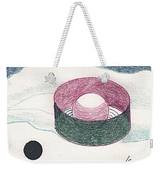 Weekender Tote Bag featuring the drawing Floating Can With Black Sun by Rod Ismay