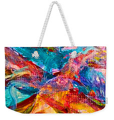 Weekender Tote Bag featuring the painting Floating Feather Swirls by Claire Bull